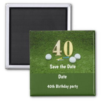 40th Birthday Save the Date for golfer with number Magnet