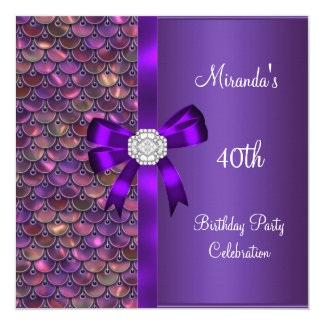40th Birthday Sequins Pink Purple Diamond Bow 5.25x5.25 Square Paper Invitation Card