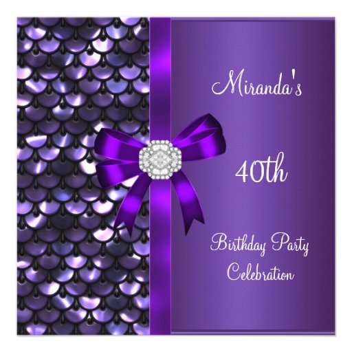 40th Birthday Sequins Purple Diamond Bow Personalized Invitation