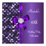 "40th Birthday Sequins Purple Diamond Bow 5.25"" Square Invitation Card"