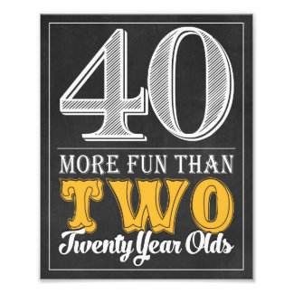 40th Birthday Sign • Cheers and Beers 8 x 10 Print
