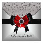 40th Birthday Silver Floral Black Red Bow Jewel Custom Invites