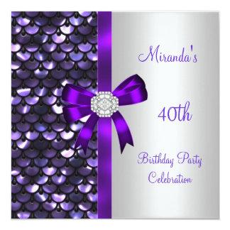 40th Birthday Silver Sequins Purple Diamond Bow 5.25x5.25 Square Paper Invitation Card