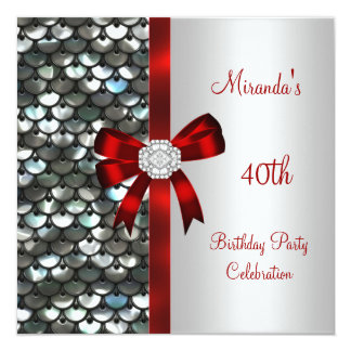40th Birthday Silver Sequins Red Diamond Bow Custom Invites