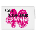 40th birthday, sister, black, pink text, white. card