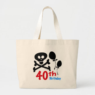 40th Birthday Skull Crossbones Large Tote Bag