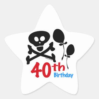 40th Birthday Skull Crossbones Sticker