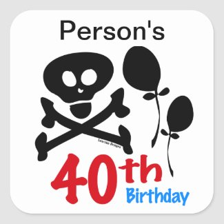 40th Birthday Skull Crossbones Stickers