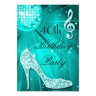 40th Birthday Sparkle Heels and Teal Disco Ball 5x7 Paper Invitation Card