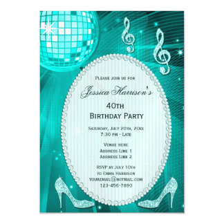 40th Birthday Sparkle Heels and Teal Disco Ball Magnetic Card