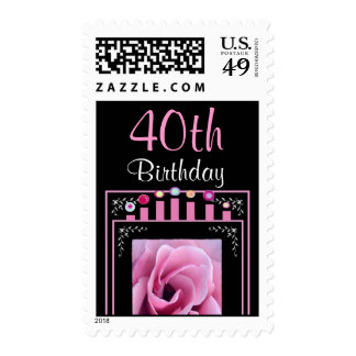 40th Birthday Stamp with Pink Rose & Candles