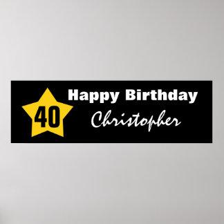 40th Birthday Star Banner Custom Name V01 Poster