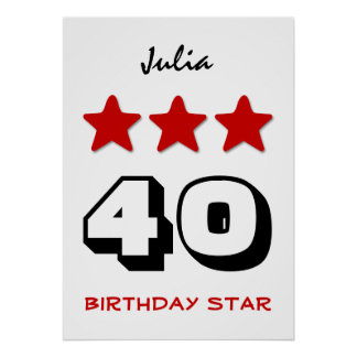 40th Birthday Star Red Black and White Z510 Poster