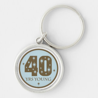 40th Birthday Star Silver-Colored Keychain Gift