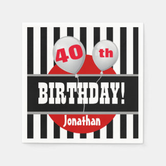 40th Birthday Stripes and Balloon BLACK RED A07 Paper Napkin
