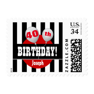 40th Birthday Stripes and Balloons BLACK RED A17A Stamp