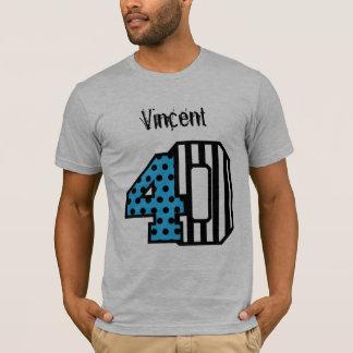40th Birthday Stripes Polka Dot Custom Name A019 T-Shirt