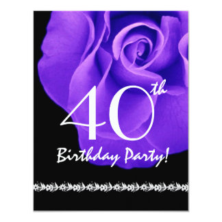 40th Birthday Template Purple Rose For Her W418D Card