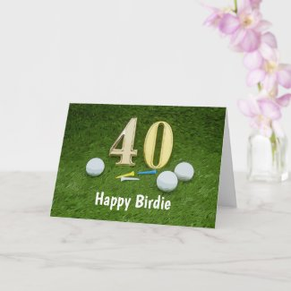 40th Birthday to Golfer with golf ball and number Card