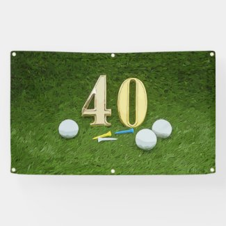 40th birthday to golfer with golf ball and tee banner
