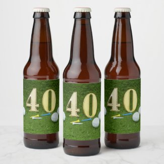 40th birthday to golfer with golf ball and tee beer bottle label
