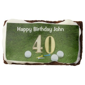 40th birthday to golfer with golf ball and tee brownie