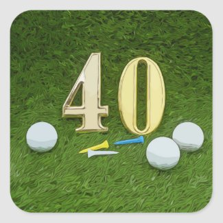 40th birthday to golfer with golf ball and tee square sticker