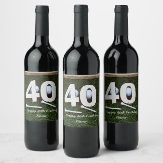 40th birthday to golfer with number forty & tee wine label