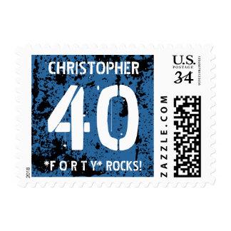 40th Birthday Trendy BLUE Grunge Pattern A03 Postage