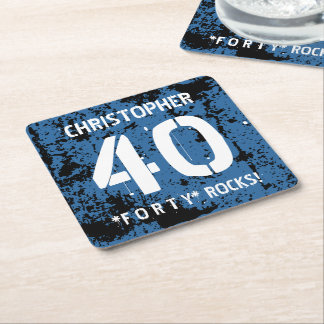 40th Birthday Trendy BLUE Grunge Pattern A07 Square Paper Coaster