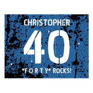 40th Birthday Trendy BLUE Grunge Pattern A15 Postcard