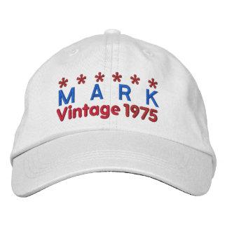 40th Birthday Vintage 1975 Six Stars V02 WHITE Cap