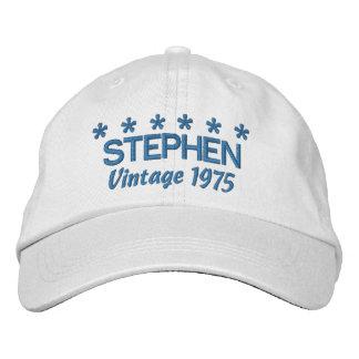 40th Birthday Vintage 1975 Six Stars V03 WHITE Cap