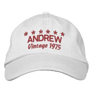 40th Birthday Vintage 1975 Six Stars V04 WHITE Cap