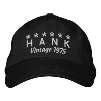 40th Birthday Vintage 1975 Six Stars V05 BLACK Baseball Cap