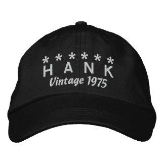 40th Birthday Vintage 1975 Six Stars V05 BLACK Embroidered Baseball Cap