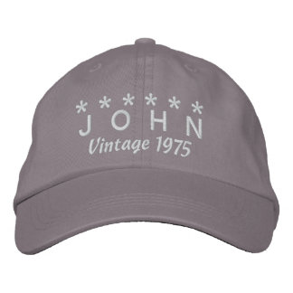 40th Birthday Vintage 1975 Six Stars V06 GRAY Baseball Cap