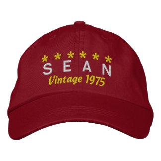 40th Birthday Vintage 1975 Six Stars V07 RED Baseball Cap