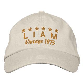 40th Birthday Vintage 1975 Six Stars V09 STONE Baseball Cap