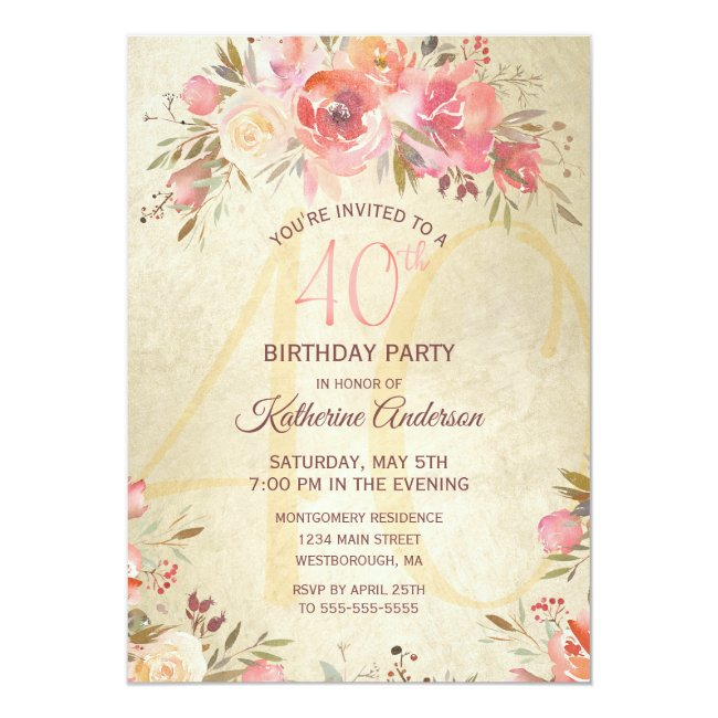 40th Birthday Vintage Floral Pink Roses Gold Party Invitation