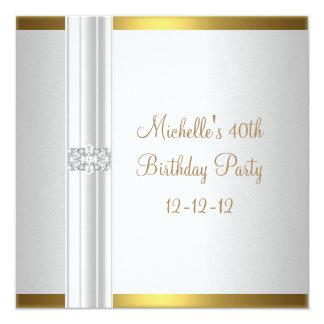 40th Birthday White Gold Diamond Jewel Card