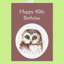 40th Birthday Who Loves You, Cute Owl Humour Card