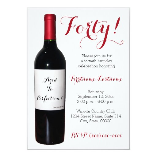 40th Birthday Wine Bottle Invitations | Zazzle