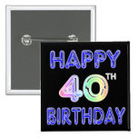40th Birthday with Ballon Font Buttons