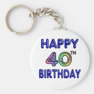 40th Birthday with Ballon Font Keychain