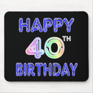 40th Birthday with Ballon Font Mouse Pad