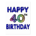 40th Birthday with Ballon Font Post Card