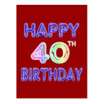 40th Birthday with Ballon Font Post Cards