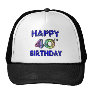 40th Birthday with Ballon Font Trucker Hat