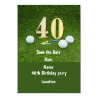 40th Birthday with golf ball and number Invitation